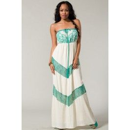 Tube Style Maxi Dress with Lace Chevron Insert $46.99