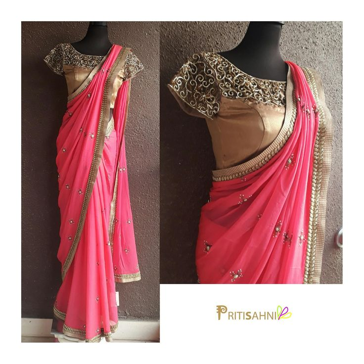 Get this perfect cocktail look in this sensuous pink Saree with cutwork blouseFor more information  Whatsapp on +91-9022617481 13 June 2017