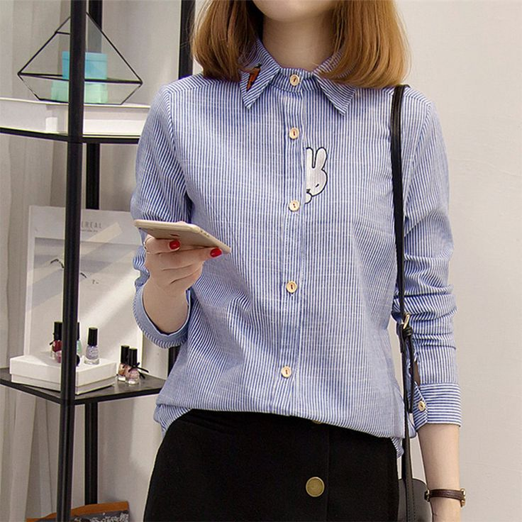 2017 Spring Summer New Radish rabbit embroidery striped Women's Cotton Shirt Full Sleeve casual blouse for Women Blue