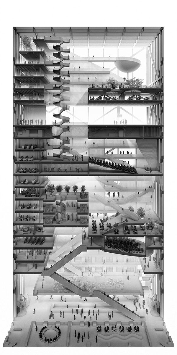 My winning proposal for Chidesign Competition:This project is a forum, agora, amphitheater; a vertical city inside of the city with a unique concentration of knowledge and opportunity. The design is aimed to provide openness, interconnection and maximiz…