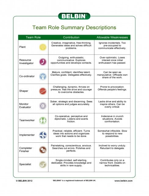 Belbin Team Role Summary Descriptions: action-oriented team roles