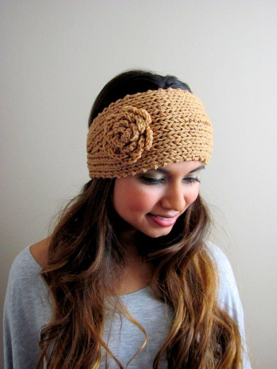 Fuchsia Pink Knit Head Wrap Flower Headband Chunky Flower Ear Warmer Winter  HeadBand Stocking Stuffe 5b506bf2251