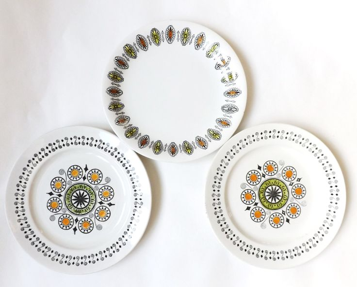 Midcentury Modern Dinner Plates, Kathie Winkle Acapulco Renaissance Design 1960s Broadhurst Ironstone Retro Kitchen Serveware, Mod Tableware by CuriosAnCollectibles on Etsy