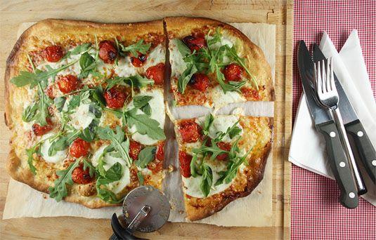 ... Tomatoes, Fresh Mozzarella, Basil & Rocket (arugula) Roman-Style Pizza