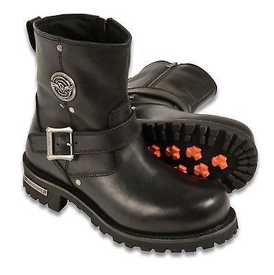 MEN'S MOTORCYCLE 6 INCH CLASSIC ENGINEER BOOT WITH ZIPPER GENUINE LEATHER