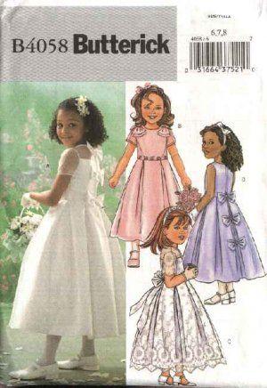 Butterick Sewing Pattern 4058 Girls Size 2 3 4 5 Formal