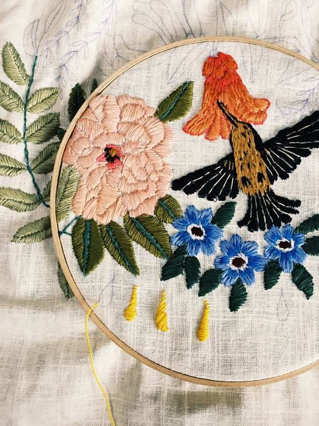 Flowers And Hummingbirds Hand Embroidery Design | Impeccable Hand Embroidery Designs | Sewing Tips, Ideas, And Guide