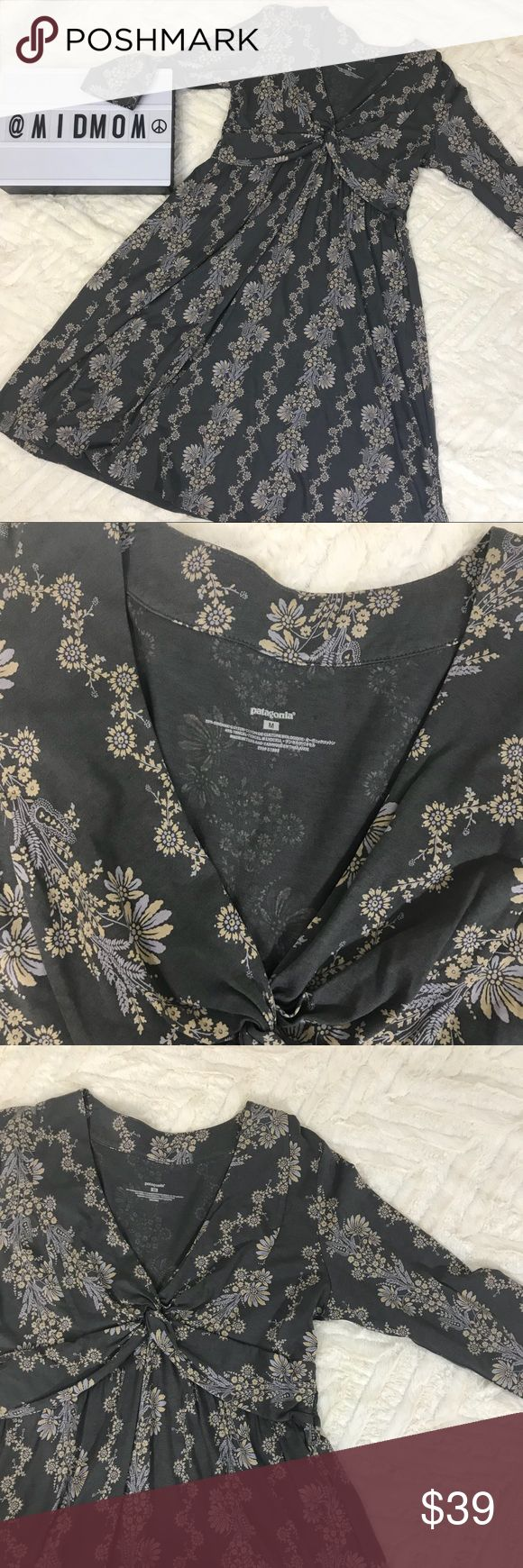 "Patagonia floral organic cotton long sleeve dress Patagonia dress with 3/4 length sleeves.  Excellent condition.  Measures 37"" long and 18"" armpit to armpit approximately Patagonia Dresses Midi"