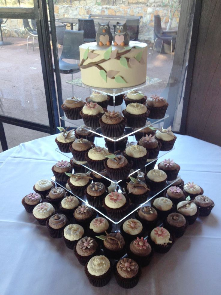 Wedding cake and cupcakes with fondant owl toppers