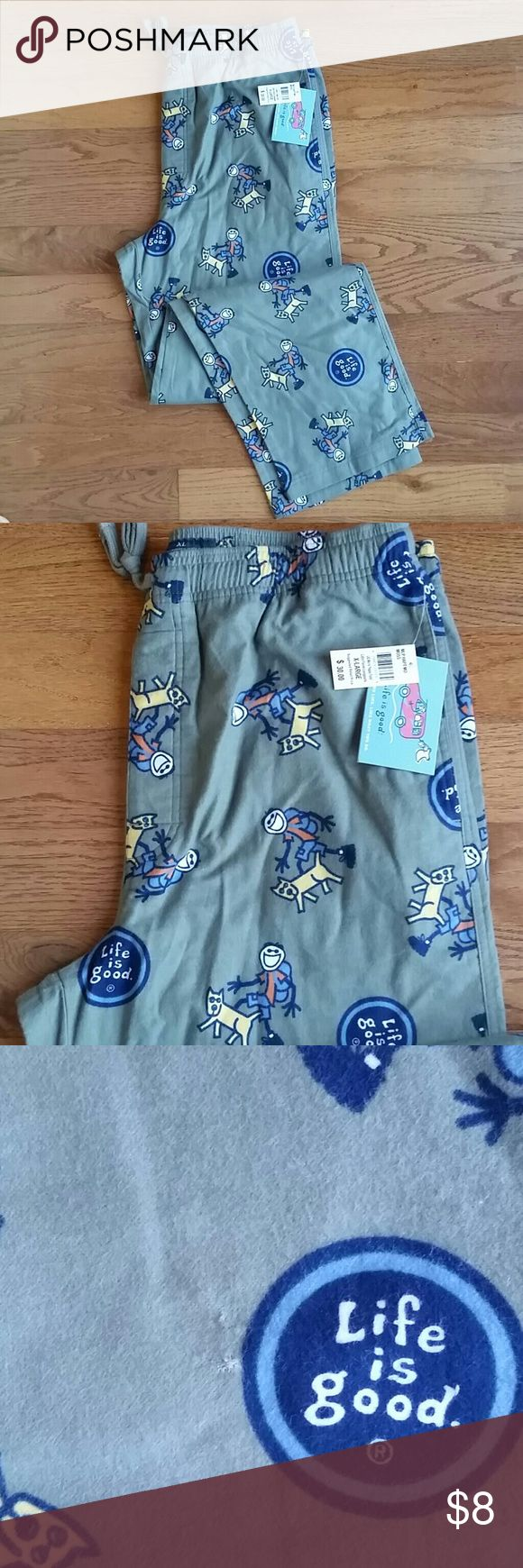 Life is good men's sleep pant These pants are super soft 100% cotton flannel. Feature hiking jake and rocket dog. Long and great for lounging. They are new with tags but have a small spot show. In the last 2 pictures. I almost didn't even notice it. Life is Good Pants Sweatpants & Joggers