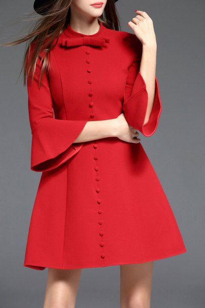 Biemei Red Bow Collar Bell Sleeve Dress | Mini Dresses at DEZZAL Click on picture to purchase!