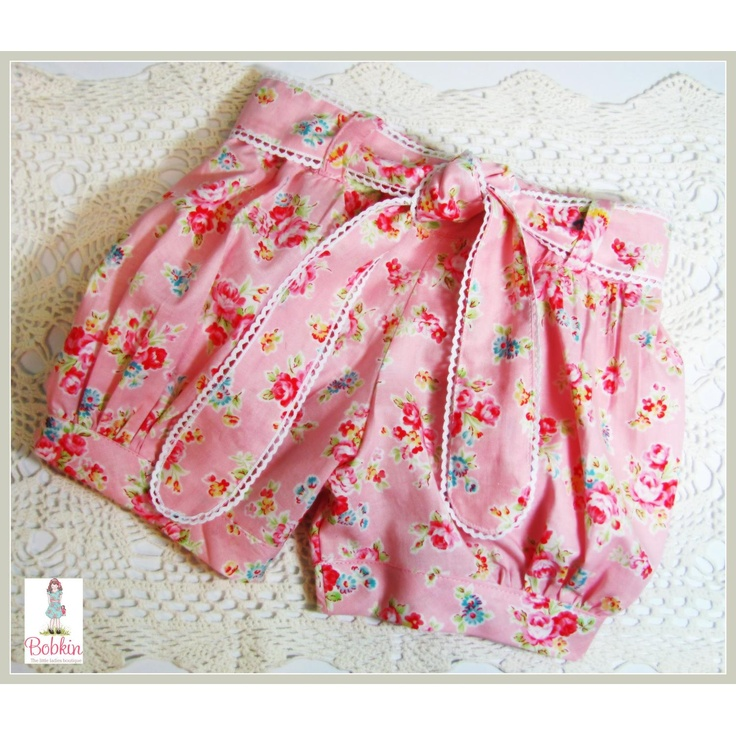 Inspiration!  how cute are these bubble shorts with their rounded end ties edged in tiny lace?