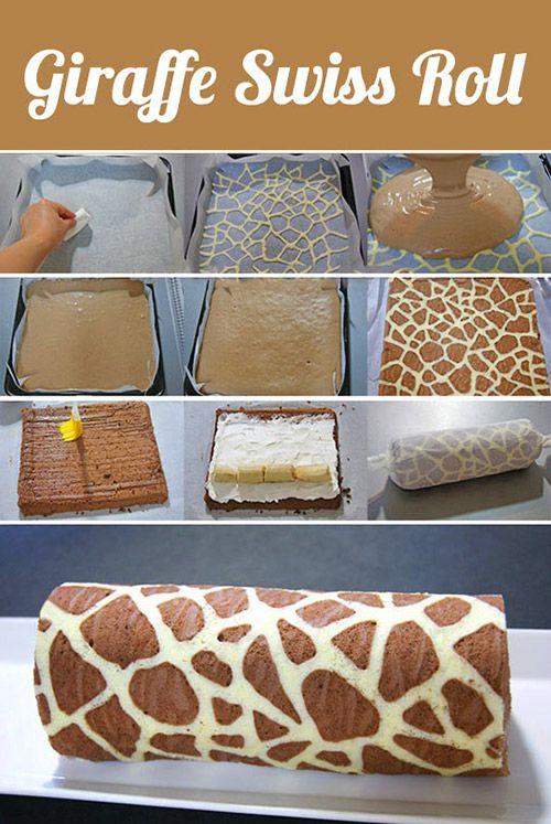 Easy Giraffe Swiss Roll.