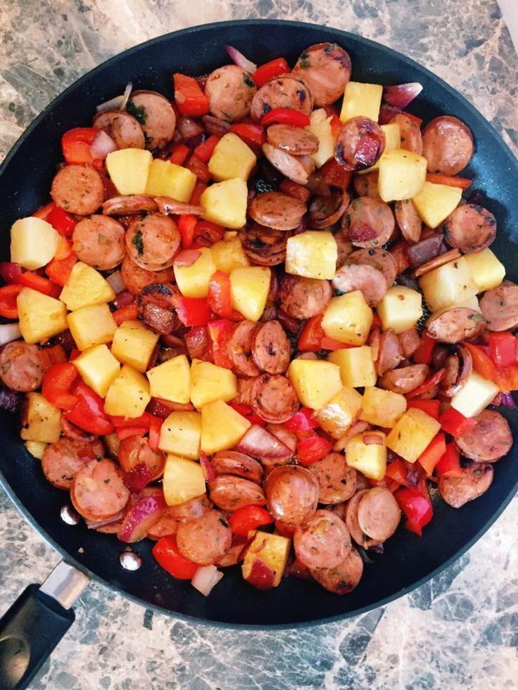 Chicken Sausage Stir-Fry with Pineapple and Honey Sriracha Sauce- Easy Healthy Recipe!