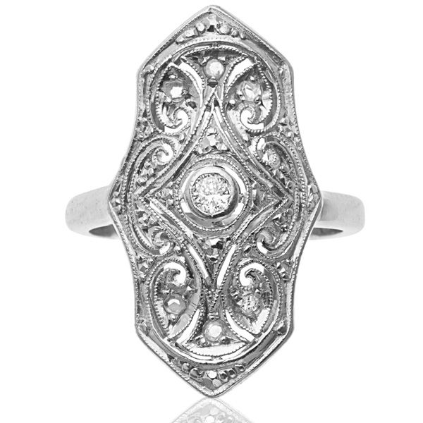 Art Deco Plaque Ring with an Eye Catching Design!