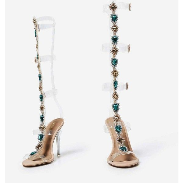 Aria Jewel Embellished Perspex Long Heel In Nude Faux Leather ($74) ❤ liked on Polyvore featuring shoes, pumps, vegan leather shoes, nude court shoes, jewel pump, perspex shoes and acrylic shoes