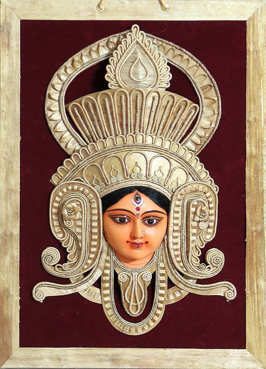 Face of Goddess Durga with Gorgeous Crown made of Jute - Wall Hanging (Terracotta and Jute))