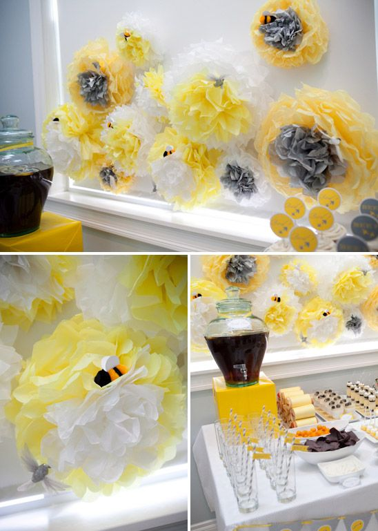 Buy tissue paper and make them into flowers and put little bees on them. Buy lots of tissue paper at the dollar store, they sell like 50 in one for only $1. SO CHEAP - -  Show Lyndsey.