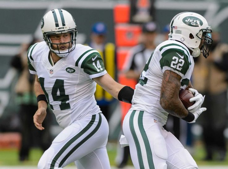 jersey new york jets quarterback ryan fitzpatrick hands off to new york jets running back matt forte nike nfl