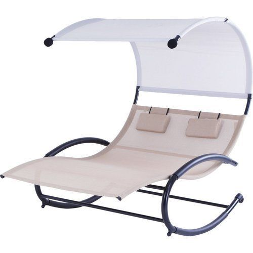 Double-Chaise-Lounge-Canopy-Outdoor-Sunbed-Patio-Lounger-Reclining-Deck-Pool-New