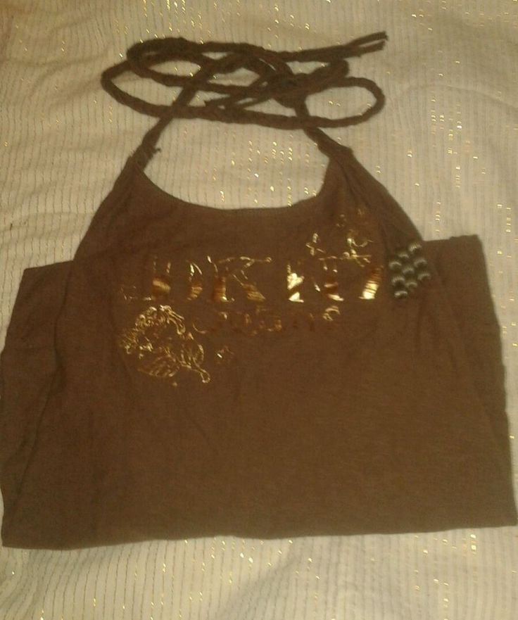 DKNY JEANS Brown Cotton Halter Top with Tassel and Braided Straps Size Small #DKNY #Halter #Casual #summer #ladies #girls