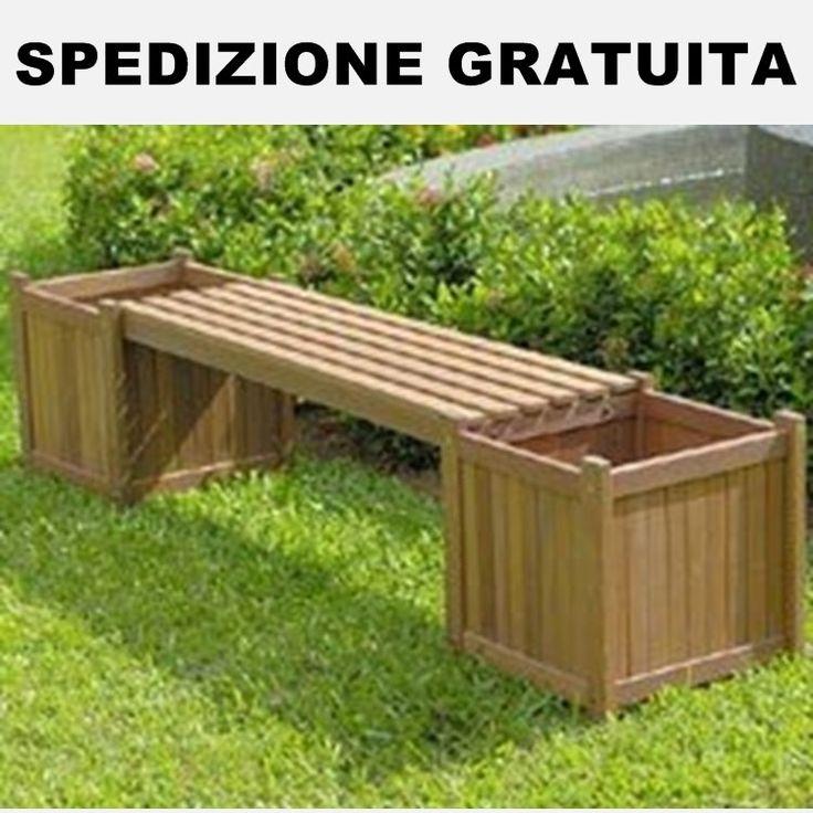 panchina-in-legno-con-fioriere-da-giardino.jpg (750×750)