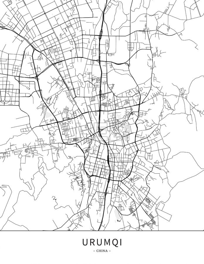 Urumqi, China, Map poster borderless print template. Black streets, railways and grey water on white. This map will show only basic shapes for landmar... ... #download #poster #map #stockimage #graphic #cityposter #citymap #city
