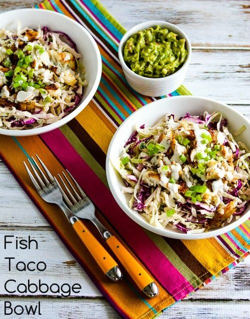 Low-Carb Fish Taco Cabbage Bowl (Gluten-Free, South Beach Diet, Can Be Paleo) [from KalynsKitchen.com]
