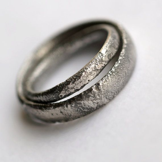 Rustic Wedding Bands Set – Oxidized Sterling Silver Matching Rings
