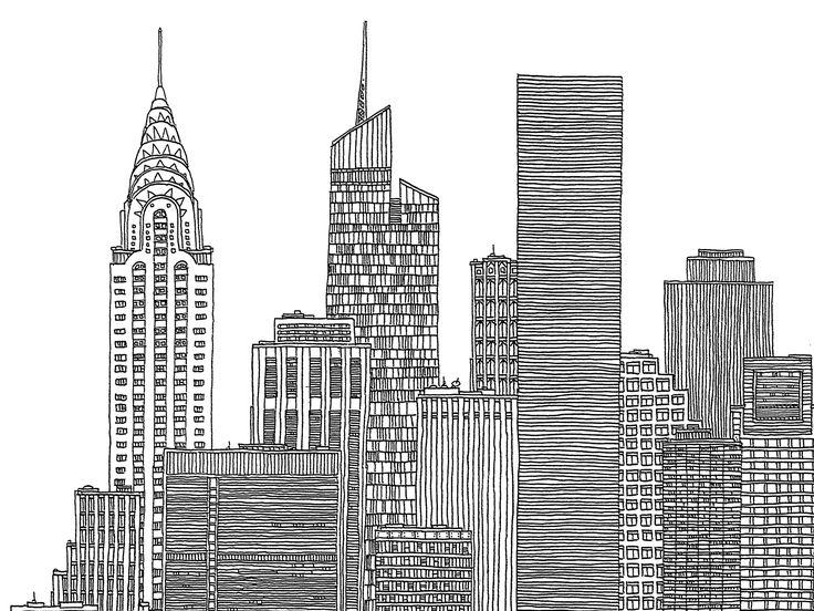 Images For > New York City Skyline Black And White Illustration