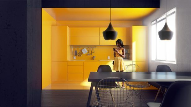 , Monochromatic Yellow Kitchen Yellow Kitchen Walls Pinterest Black And Yellow Kitchens Pinterest Minimalist Yellow Accent Kitchens: