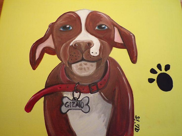 Puppy pawprints Smiling Staffy. Oil on canvas 30cm x 40cm £25.00 + £3.50 P&P