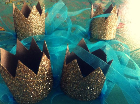 handmade GOLD Mini GLITTER CROWN fascinator Party Hat Crown party favor Cinderella Party Prince Princess