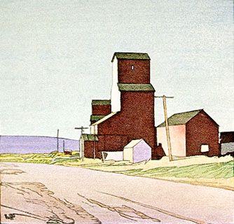 LaRiviere, Manitoba 1938 Watercolor woodcut