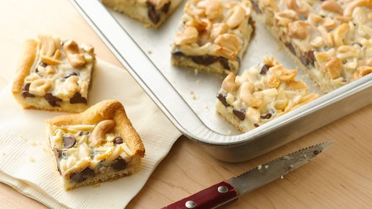 Refrigerated crescent rolls form the crust for bars stacked with chocolate and cashews.