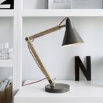 19 Bedside Table Lamps To Dress Up Your Bedroom // Rex Grey Desk lamp by Crate&Barrel.