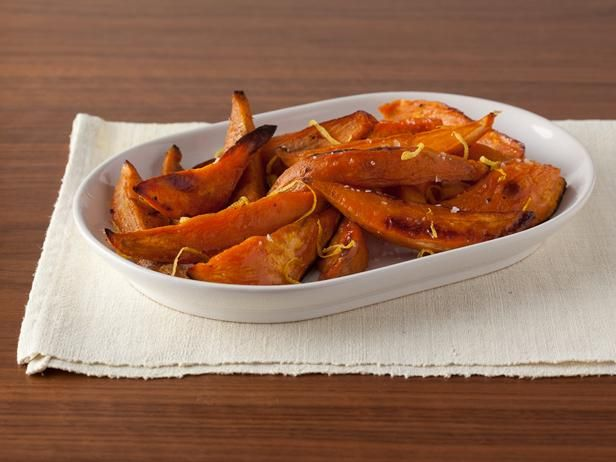 Get Maple-Roasted Sweet Potatoes Recipe from Food Network