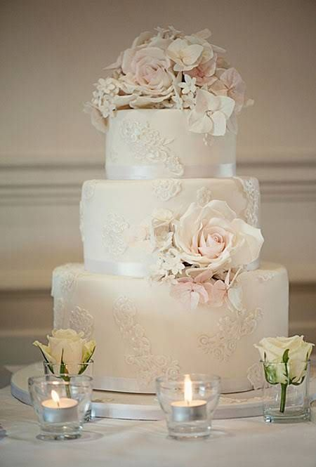Lace Wedding Cake with Flower Topper