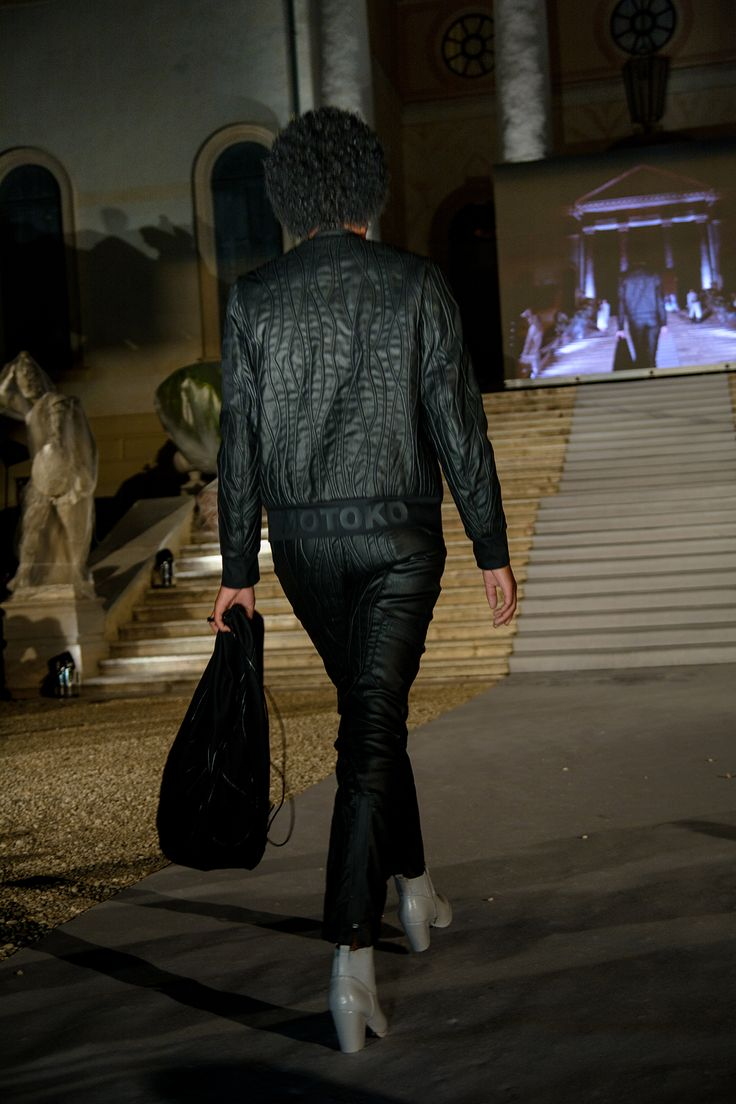 """The Catwalk!! """"Ghost in The Shell"""" designed by Joona Rautiainen from Aalto University (Finland) - Winner of the Athleisure Award given by @Mavi EU!! @ISKODENIM"""
