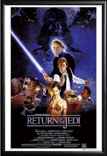 Framed Return of the Jedi Star Wars Movie 24x36 Poster in Matte Black Finish Wood Frame @ niftywarehouse.com #NiftyWarehouse #Geek #Products #StarWars #Movies #Film