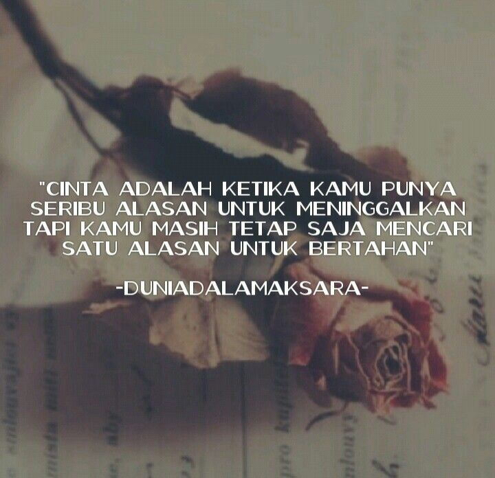 """Cinta adalah ketika kamu punya seribu alasan untuk meninggalkan tapi masih tetap saja mencari satu alasan untuk bertahan"""