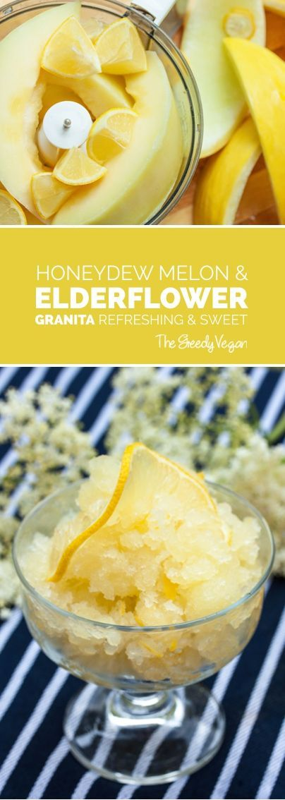 This elderflower granita is made with fresh honeydew lemon and a whole lemon that adds just the perfect amount of tartness to this frozen dessert. #dessert