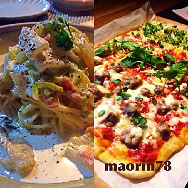 今夜は □牡蠣と白菜、ベーコンのクリームスパゲティ □3種の米粉pizza         ・トマトとミートボール         ・マリナーラ         ・シラスとネギ  今日はドッカーンとこってり… - 168件のもぐもぐ - 今夜の晩ご飯  ꒰ ๑ּగᴗ̂గ๑꒱ෆ⃛* by Manami Fugikawa