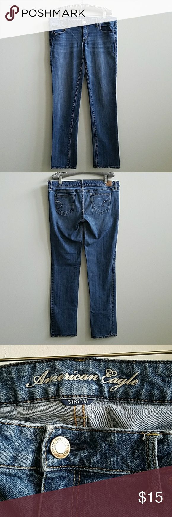 """Americn Eagle Skinny Stretch Jeans Size 14 Reg In GUC, they're 99% cotton & 1% spandex. Measurements: waist 17"""", rise 8"""", inseam 30"""" and the bottom leg opening is 7"""" & the hips are 17"""". American Eagle Outfitters Jeans Skinny"""