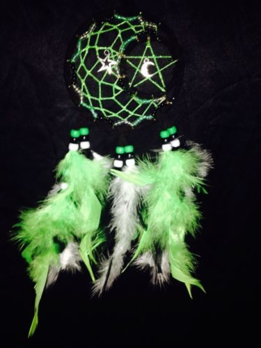 Black-And-Neon-Green-4-Glow-in-the-Dark-Moon-and-Star-Dream-Catcher