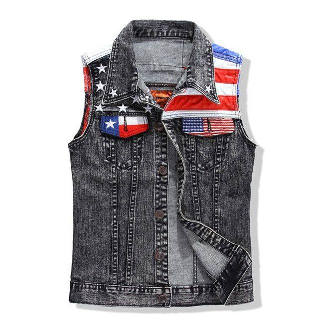 Мода мужские американский флаг джинсовой жилет старинные рок хип хоп омывается серый рукавов джинсовая курткакупить в магазине Global sexy fashionнаAliExpress