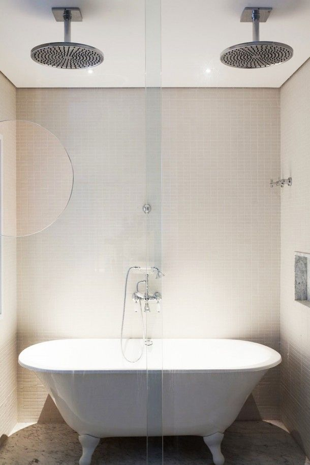 Apartment - Extraordinary Design Of Fidalga 727 Residence Bathroom With Metal Headshowers And White Bath Tub Under Them With Glass Door: Fidalga 727 an Elegant Modern Duplex Apartment for Modern Individual