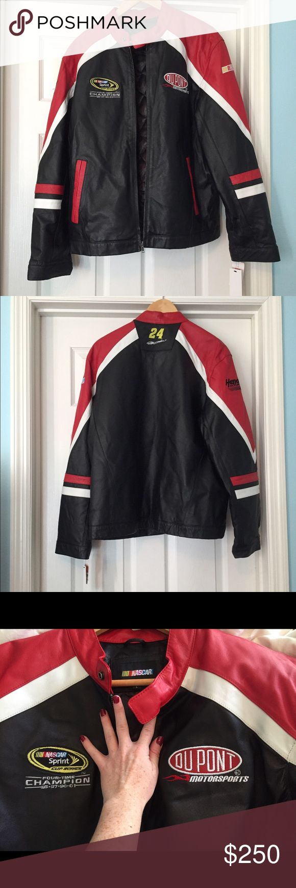Leather NASCAR Jacket! (Jeff Gordon, 24) Brand New with tags official NASCAR jacket!! It's a beautiful leather coat for any NASCAR fan! On the back it has Jeff Gordon's number 24!!!! This will make a great birthday gift for any fan of Jeff Gordon or NASCAR fan! The holidays are coming up to ☺️👏 make me an offer! ☺️ NASCAR Jackets & Coats Performance Jackets