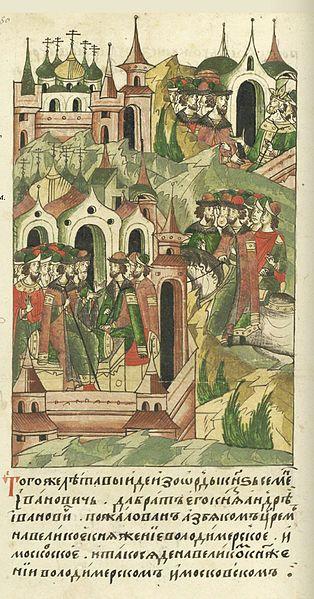 1340:Facial Chronicle - b.07, p.450 - Simeon Gordy enthroned.В том же году вышел из Орды князь Семен Иванович, да брат его князь Андрей Иванович, пожалованный царем на великое княжение Владимирское и Московское. И стал он великим князем Владимирским и Московским.