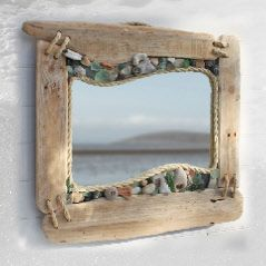 driftwood, rope , shells mirror. Beach decor